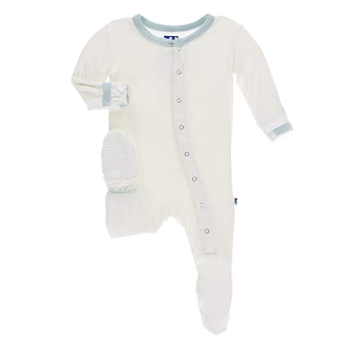 Kickee Pants Little Boys Solid Footie with Snaps - Natural with Spring Sky, 0-3 Months