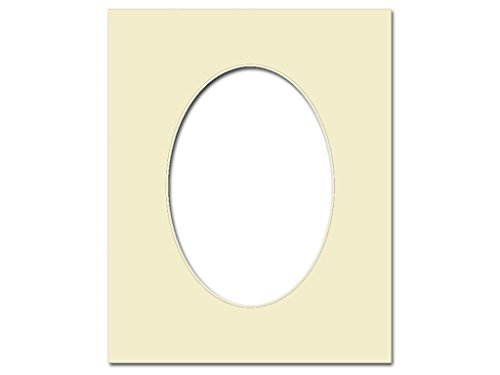 PA Framing, Photo Mat Board, 8 x 10 inches Frame for 5 x 7 inches Photo Art Size, Oval - Cream Core/Ivory