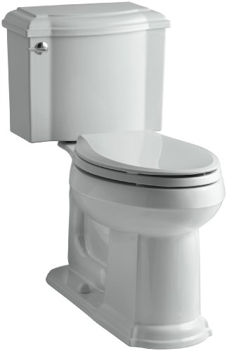 Rough Grey Ice Elongated - KOHLER K-3837-95 Devonshire Comfort Height Two-Piece Elongated 1.28 gpf Toilet, Ice Grey