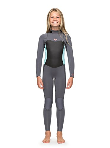 Roxy Girls Syncro 3/2MM Back Zip Wetsuit Deep Grey/Glacier Blue Lightweight Easy Stretch Thermal Lining