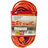 16 Gauge Heavy Duty Grounded Safety Orange Outdoor Rated Extension Cord, Three Pronged Connection Pre Rolled And Ready To Use (50ft)