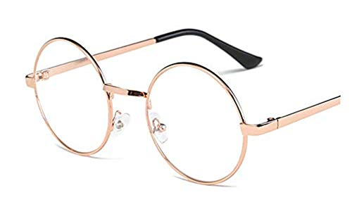 Lovef Large Oversized Metal Frame Clear Lens Round Circle Vintage Eye Glasses 5.42inch (Rose ()