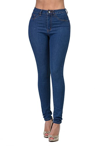 Premium Denim Jeans for Women High Waisted-Rise COLOREDR Ripped Destroyed (INDIGO-1V, M) ()