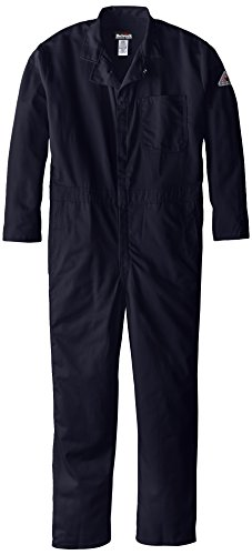 Classic Coverall (Bulwark Flame Resistant 9 oz Twill Cotton Classic Coverall with Hemmed Sleeves, Navy, 44)