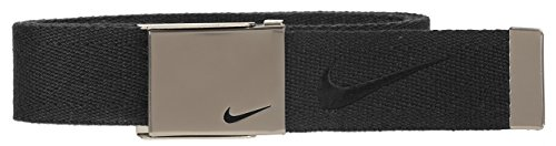 Nike Men's Embroidered Swoosh Web Belt, Black, One Size