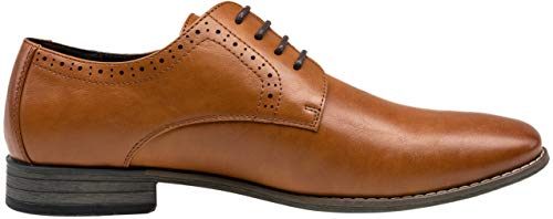JOUSEN Men's Oxford Business Dress Shoes Formal Yellow Brown Oxford Wingtip Lace Up Dress Shoes(12,Yellow Brown)