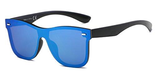 - Cramilo Reflective Mirrored Lens Rimless Squared Sunglasses