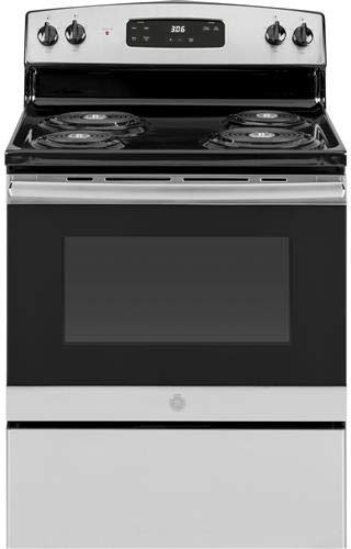 h Freestanding Electric Range with 4 Coil Elements, 5 cu. ft. Primary Oven Capacity, in Stainless Steel (Ge Range Electronic Clock)
