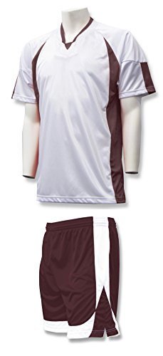 Imperial soccer uniform kit with your player number - size Adult XL - color White/Maroon ()