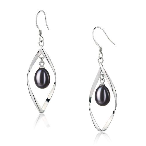 Sandy Black 7-8mm AA - Drop Quality Freshwater 925 Sterling Silver Cultured Pearl Earring Pair For Women ()