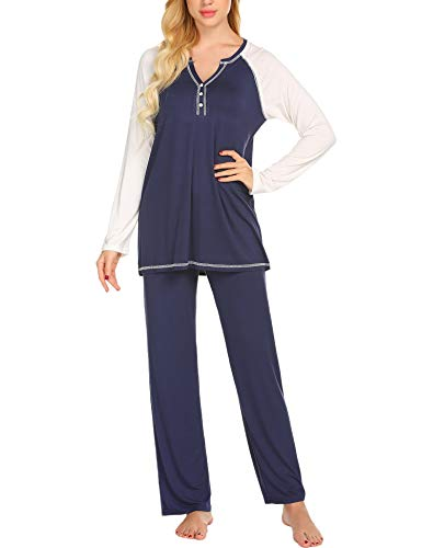 Ekouaer Sleep Set Women's Solid Cotton Sleepwear Long Sleeve Two Piece Pajama Set (Navy,M)