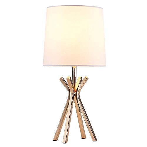 Popilion Noble Gold Metal Base Table Lamp,Elegant Table Lamp With White TC Fabric Lampshade For Bedroom Living Room Study Room