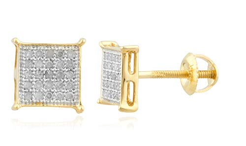 10K Gold .15CT Diamond Stud Earrings, 6mm Square Shaped Studs for Men, Screw Back Post (yellow-gold)