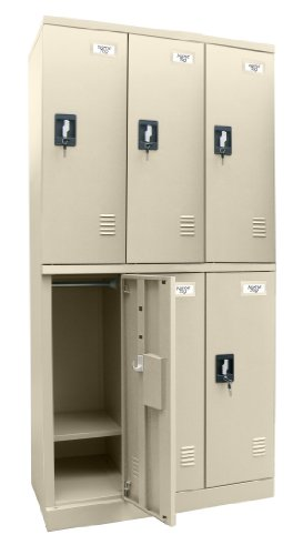 Sandusky Lee KDCL7236/6-07 Putty Powder Coat Steel SnapIt Full Length Locker, 6 Compartments, 72