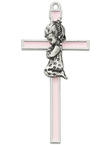 (All Patron Saints Pink with Silver Color Trim Praying Baby Girl Wall Cross 5 Inches )