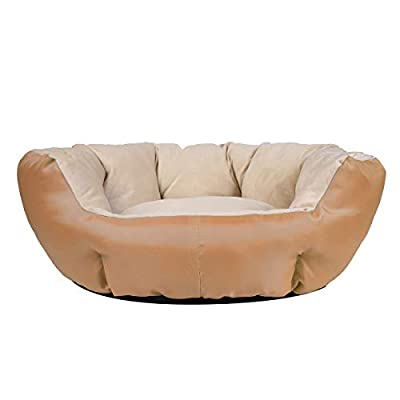 JEMA Dog Bed Non Slip Bottom Small Medium Round Cat Bed Waterproof Chew Resistant Raised Side Pet Bed