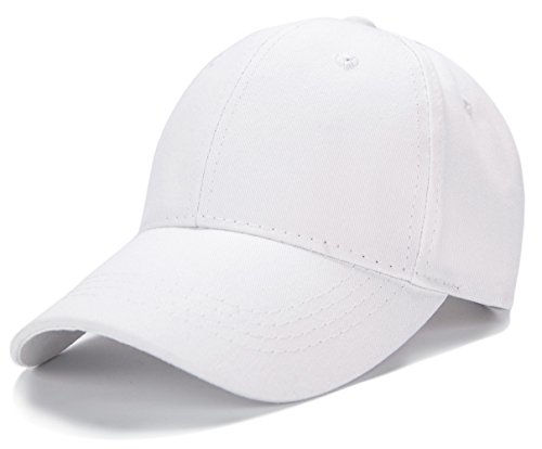 Edoneery Unisex Kids Plain Cotton Adjustable Low Profile Baseball Cap Hat(White)