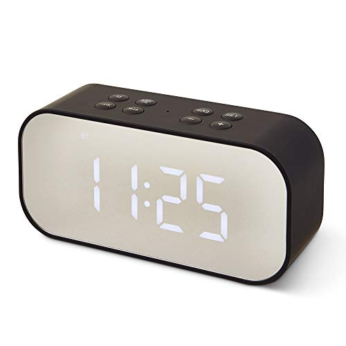 Bluetooth Speaker LED Light With Built-In Alarm Clock - Wireless Speaker, Mirror, Dual-Alarm - Dimmable Display, Hands-Free Calling - 5.5 x 1.8 x 2.8 inches, Black - Micro USB Charging