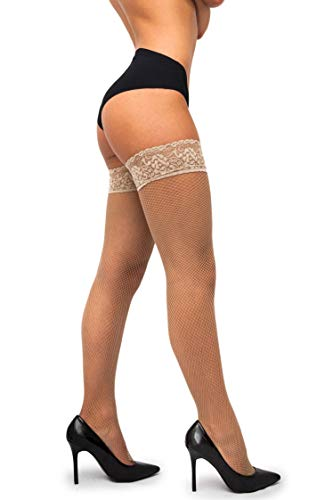 sofsy Fishnet Thigh-High Stockings - Lace Top Lingerie [Made In Italy] - Natural Beige - XS/S