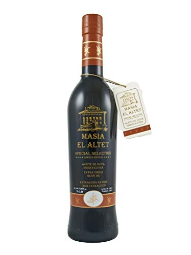 Masia El Altet Special Selection   Award Winning Spanish Extra Virgin Olive Oil from Valencia   2018 Harvest   Native Monovarietal Changlot Real   0.5 Liter (16.9 Ounce) Dark Glass - Olive El