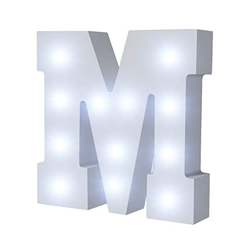 (LED Wooden Letters Light Up Marquee Alphabet Night Decorative DIY White Letters Lights Sign with Battery Operated for Festival Party Wedding Holiday Birthday Christmas Valentine Room)