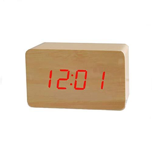 Price comparison product image Wood Alarm Clock Wooden LED Digital Alarm Clock Temperature Snooze Table