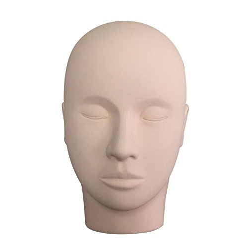 Face Painting Accessories (BEYELIAN Rubber Practice training Head Cosmetology Mannequin head Mannequin Doll Face for training Eyelash Extensions Face Painting Makeup Massage)