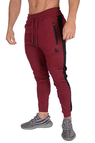 YoungLA Mens Joggers Sweatpants Casual Skinny Fit Athletic Activewear Cotton Pants with Pockets 211 Burgundy Medium - Fashion Sweatpants