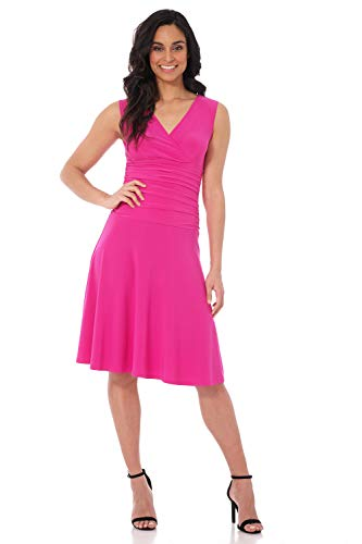 Rekucci Women's Slimming Sleeveless Fit-and-Flare Tummy Control Dress (8,Hot Pink)