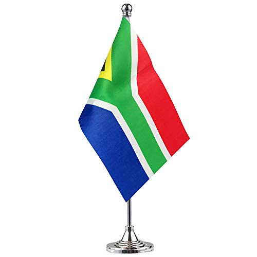 South Africa South Africans Stand Base Flag Table Desk Flag ,Metal Stand and Base and Country Flag Banners,For Home Garden Office Decoration, Festival Celebrations.