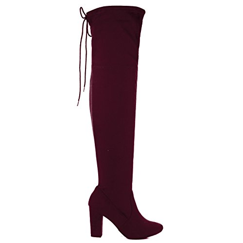 Delicious OTK Over The Knee Thigh High Slouchy Boots w/Back Lace Tie & Block Heel Vino
