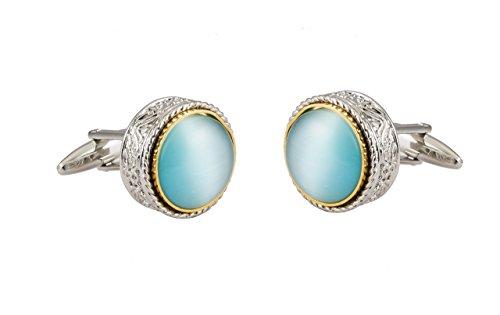 ver Engraving Round With Aqua Blue Semi Precious Stone Cufflinks Silver ()