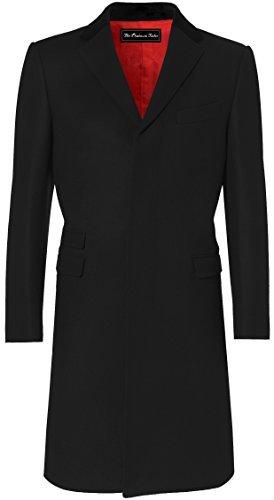 (Mens Black Overcoat Wool & Cashmere Covert Warm Winter Mod Cromby Coat Velvet Collar & Red Satin Lining (40))