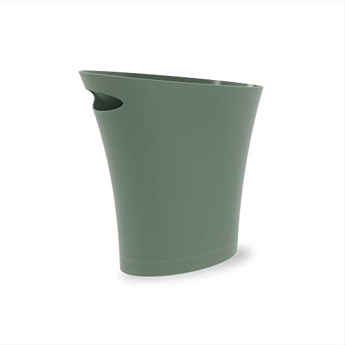 Umbra Skinny, Spruce Sleek & Stylish Bathroom Trash, Small Garbage Can, Wastebasket for Narrow Spaces at Home or Office, 2 Gallon Capacity, Single Pack