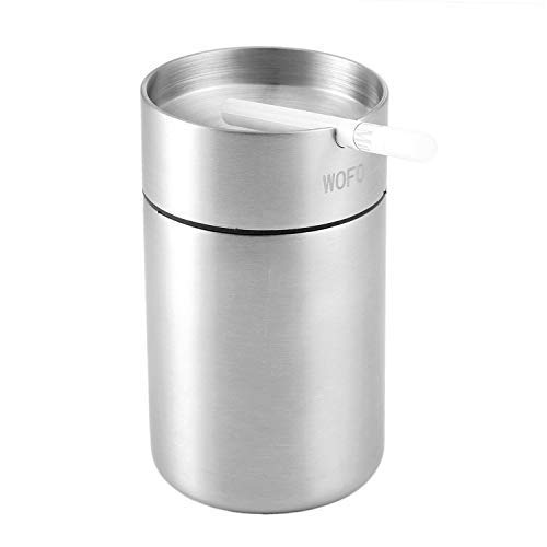 (WOFO Ashtray, Stainless Steel Car Ashtrays, Cigarette Ashtray for Car or Outdoor Use, Ash Holder for Smokers, Windproof Automatically Extinguished Ash Tray (Large))