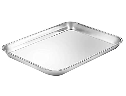 E-far Toaster Oven Tray, Stainless Steel Small Toaster Oven Pan Rectangle Cake Pan, 8 x 10 x 1 inch, Non Toxic & Healthy, Anti Rust & Deep Edge, Dishwasher Safe