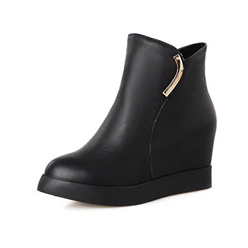 Women's AmoonyFashion Zipper Pointed Black Pu Heels Kitten Closed Solid Toe Boots wHwAqa