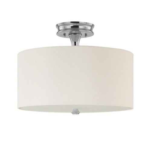 Capital Lighting 3874PN-496 Studio Collection 3-Light Semi-Flush, Polished Nickel Finish with Decorative White Fabric Shade and Frosted Glass ()