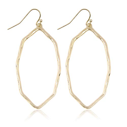 RIAH FASHION Lightweight Geometric Cut-Out Drop Earrings - Simple Metallic Open Hoop Wire Hook Dangles Pear, Teardrop, Oval Octagon (Oval Octagon - Matte Gold)