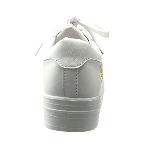 Angkorly - Zapatillas de Moda Deportivos bimaterial zapatillas de plataforma mujer flores bordado brillantes Talón Plataforma 4 CM - Blanco