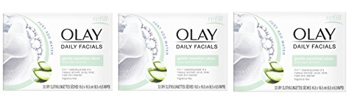 Eye Makeup Remover Wipes by Olay Daily Facials, Soap-Free and Fragrance-Free Cleanser Cloths, 33 Count (Pack of 3) Packaging may Vary (Best Cleansing Oil For Sensitive Skin)