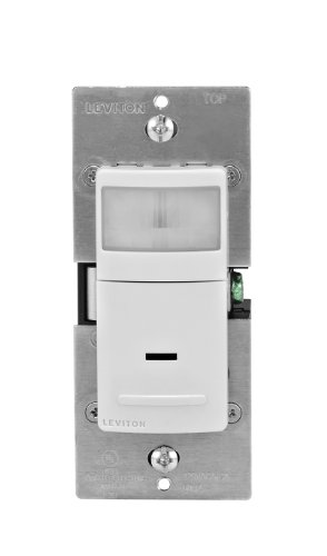 Leviton IPS02-1LW 300-Watt Incandescent, 150-Watt LED/CFL Occupancy Sensor (Auto ON/Auto OFF), Single Pole, White (Single Sensor Pole)