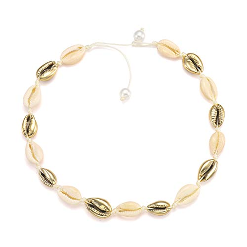 Beads Shell Elegant - HSWE Natural Cowrie Shell Choker Necklace Gold-Plated Sea Shell Necklace Adjustable Cowry Charms Gilded Beaded Cord Rope Hemp Necklace Handmade Boho Beach Summer Jewelry (Mix-Color(Pearls))