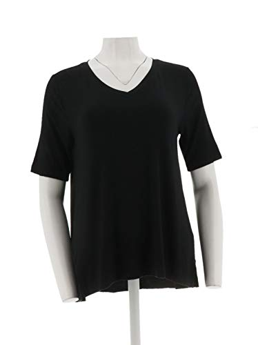 H Halston Essentials V-Neck Top Forward Notch Black L New A306072 from H by Halston