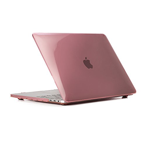 RUBAN MacBook Pro 13 Case 2018 2017 2016 Release A1989 A1706 A1708, Plastic Hard Shell Cover for Newest MacBook Pro 13 inch case with/Without Touch Bar & Touch ID - Crystal Pink