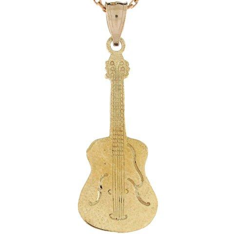 14ct Or Jaune Pendentif Guitare électrique Rock N Roll