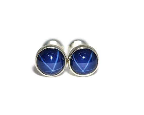 (Created Blue Star Sapphire and Polished Sterling Silver 6mm Stud Earrings)