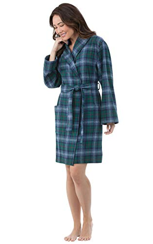 PajamaGram Short Flannel Robe Womens - Yarn Dyed Plaid, Green, XL/1X, 16-18