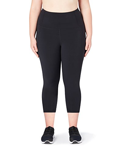 Amazon Brand - Core 10 Women's Build Your Own Onstride Plus Size High Waist Run 7/8 Crop Legging, Black, 1X (14W-16W)