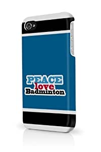 Blue Peace Love Badminton iPhone 5c Case Fits iPhone 5c & iPhone 5c Full Print Plastic Snap On Case